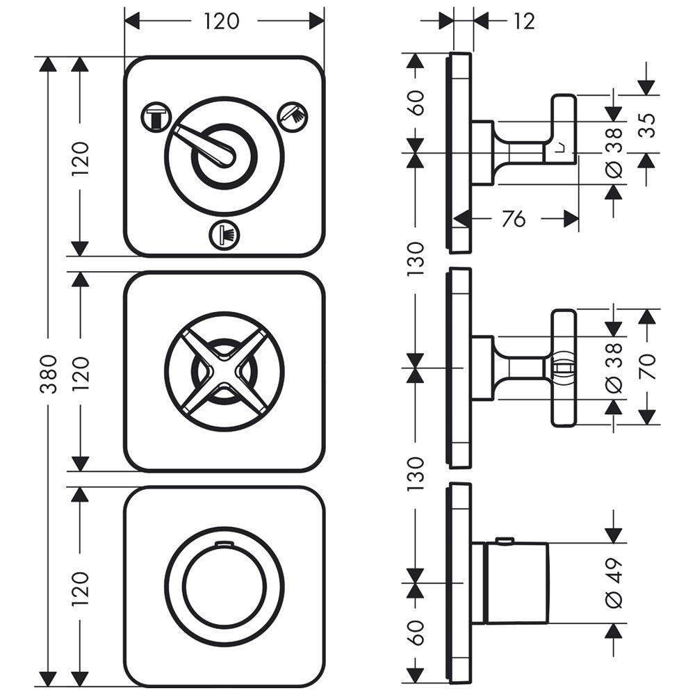 hansgrohe axor citterio e thermostatmodul unterputz f r 3 verbraucher 36704000 megabad. Black Bedroom Furniture Sets. Home Design Ideas