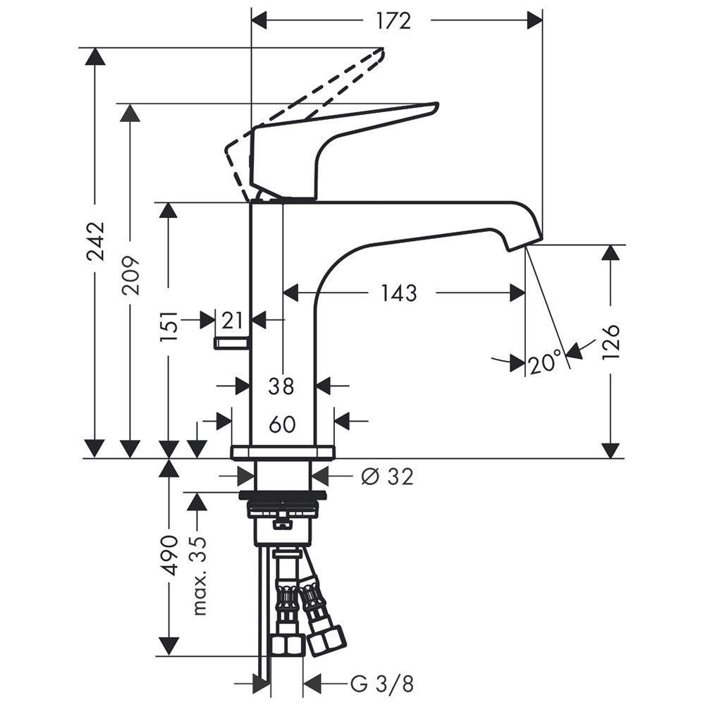 hansgrohe axor citterio e einhebel waschtischmischer 125 mit hebelgriff und ablaufgarnitur. Black Bedroom Furniture Sets. Home Design Ideas