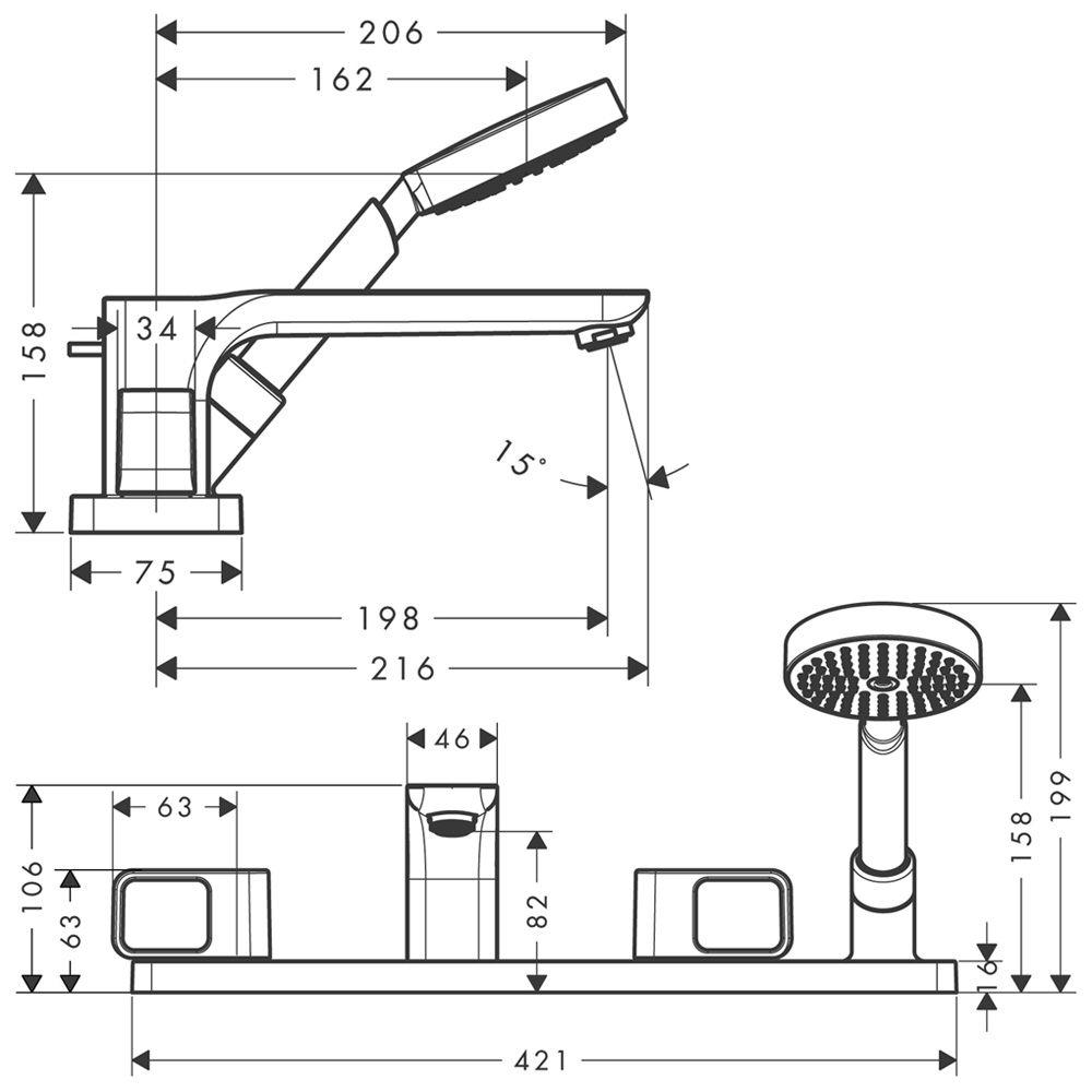 axor urquiola 4 loch fliesenrandarmatur 11445000 megabad. Black Bedroom Furniture Sets. Home Design Ideas