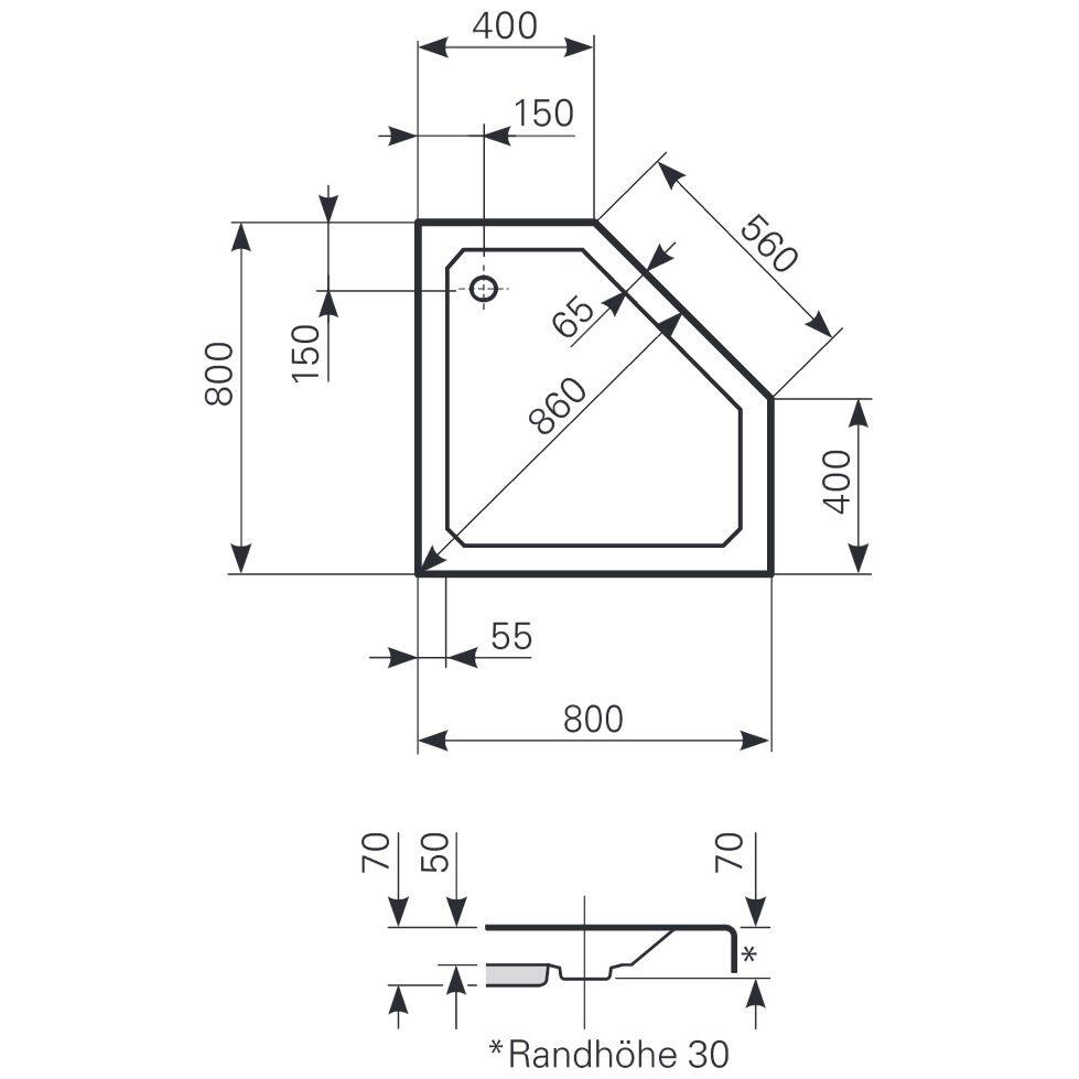 Neu Mauersberger Fünfeck-Duschwanne Ceptor 80,0 x 80,0 x 5,0 cm flach  WO53