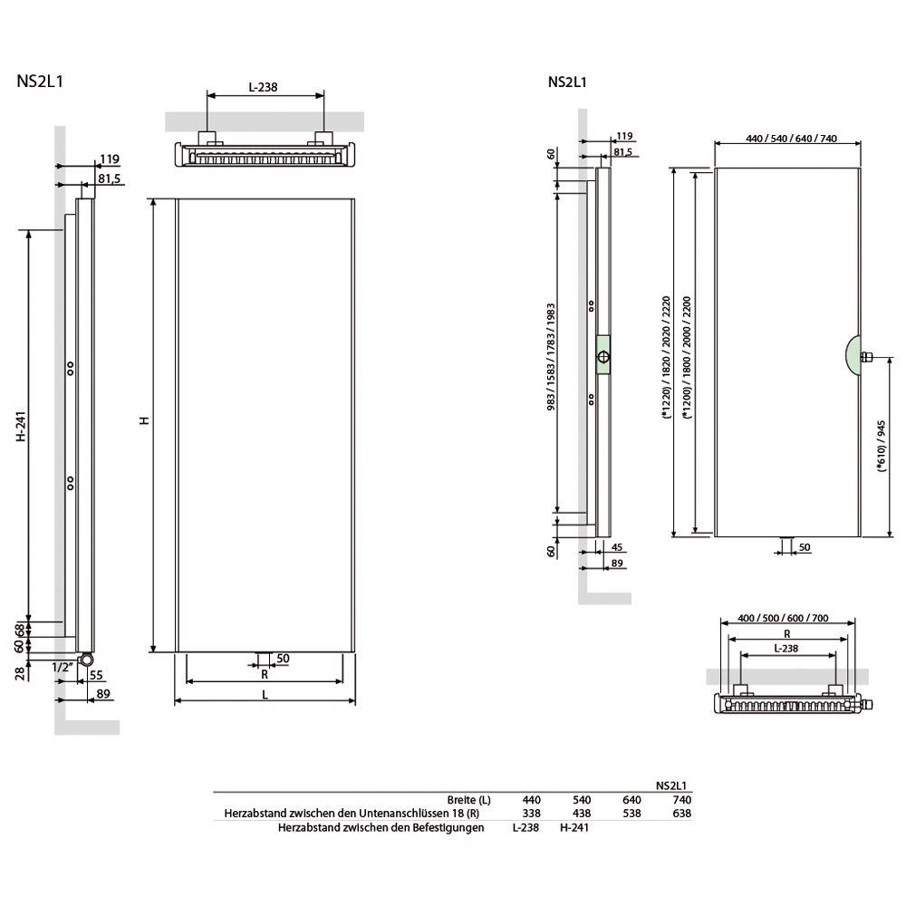 vasco niva soft vertikal doppelt ns2l1 heizk rper 54 x 11 9 x 122 cm anschluss 0098. Black Bedroom Furniture Sets. Home Design Ideas