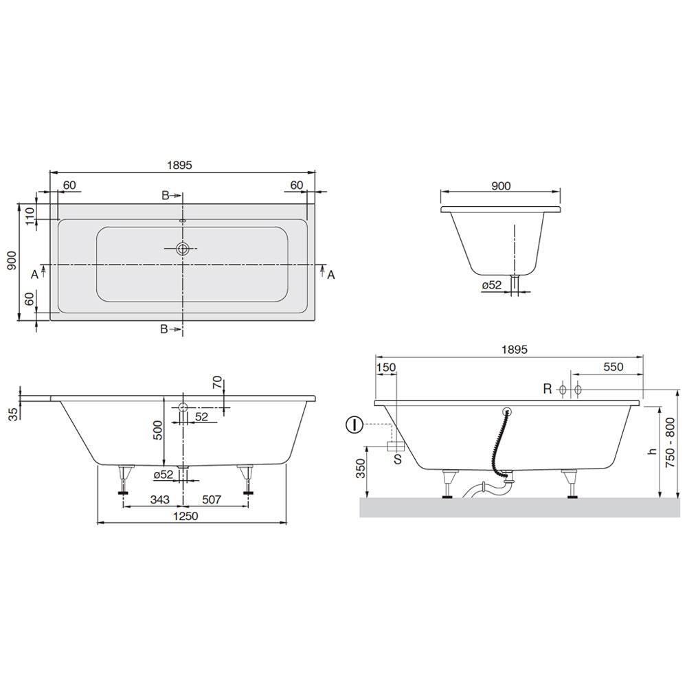 villeroy boch subway duo badewanne 190 x 90 cm uba199sub2v 01 megabad. Black Bedroom Furniture Sets. Home Design Ideas