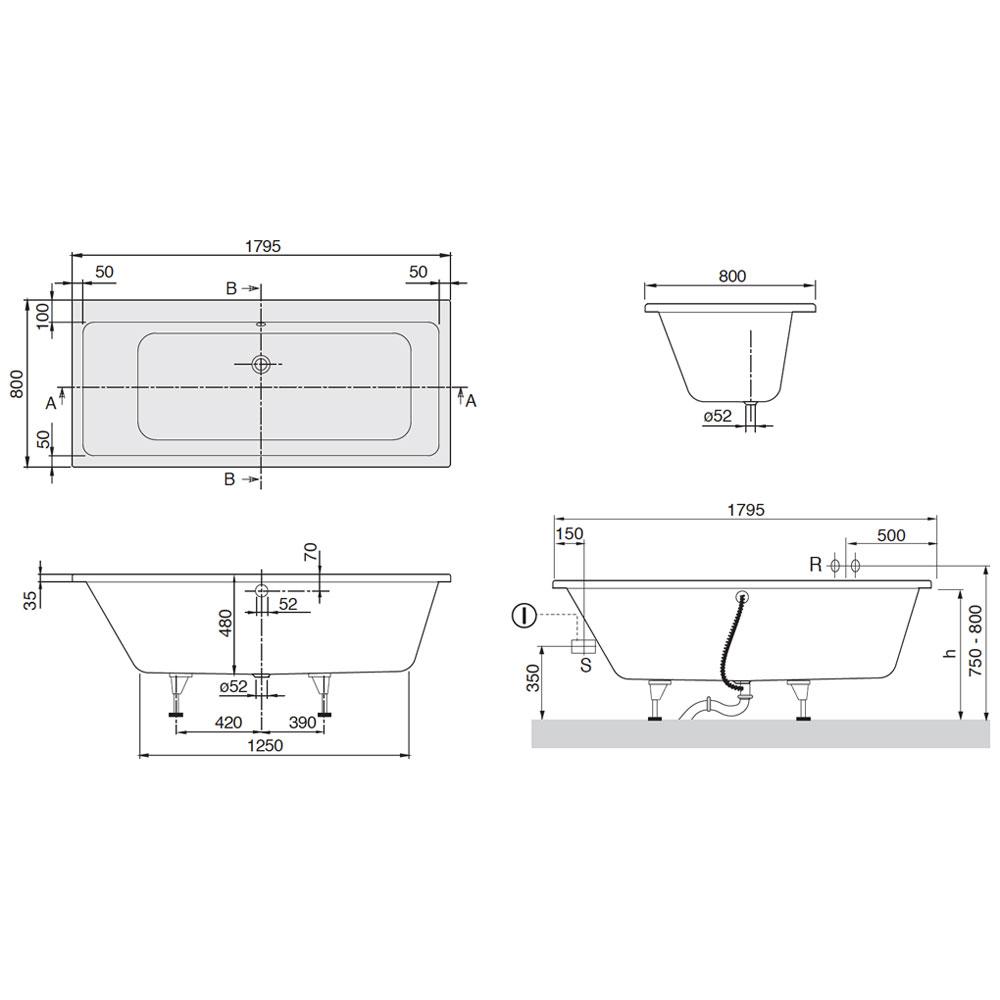 villeroy boch subway badewanne 180 x 80 cm uba180sub2v. Black Bedroom Furniture Sets. Home Design Ideas