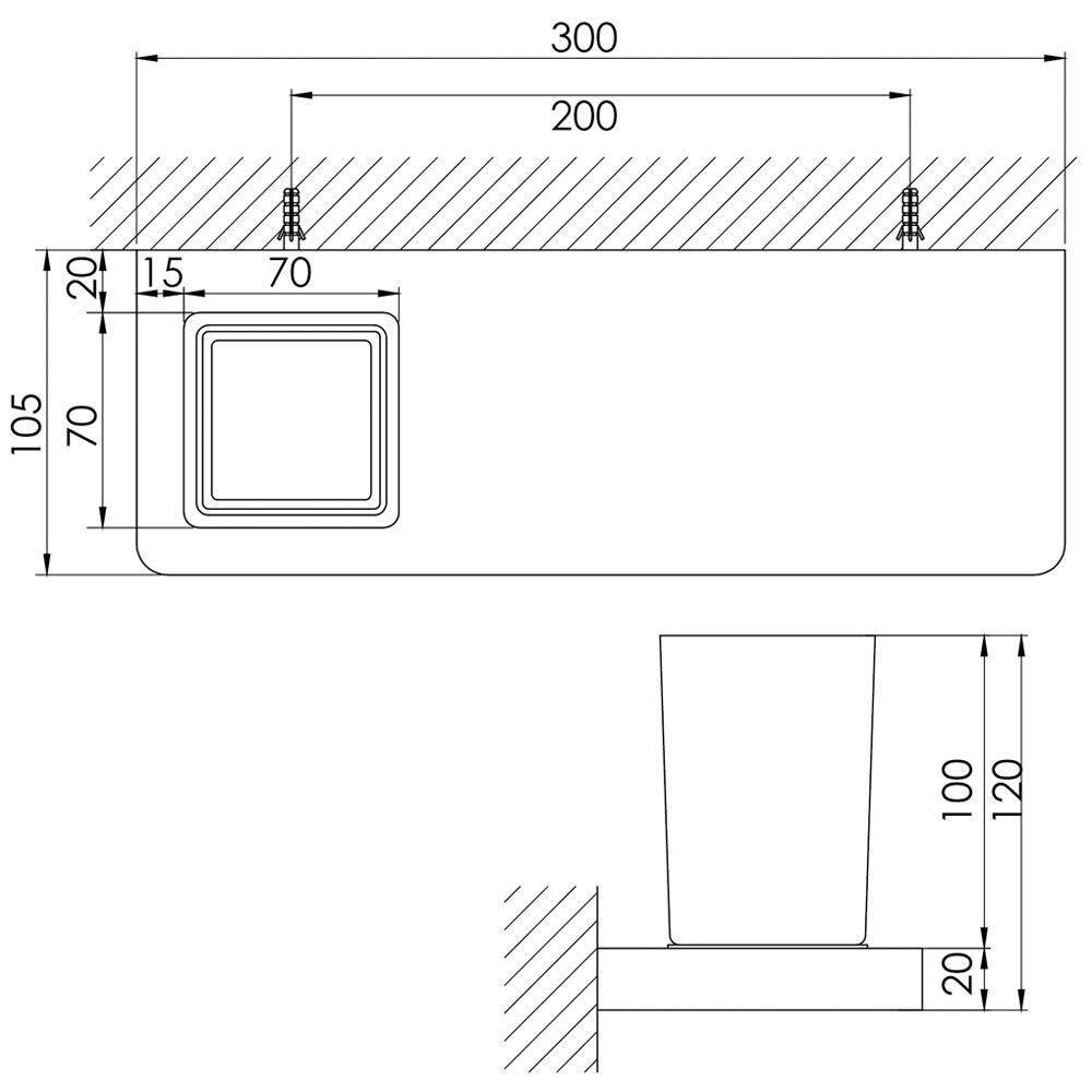 steinberg serie 420 glas mit ablage 30 cm wei. Black Bedroom Furniture Sets. Home Design Ideas