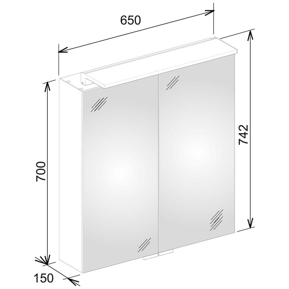keuco royal l1 spiegelschrank 65 cm 13602171301 megabad. Black Bedroom Furniture Sets. Home Design Ideas