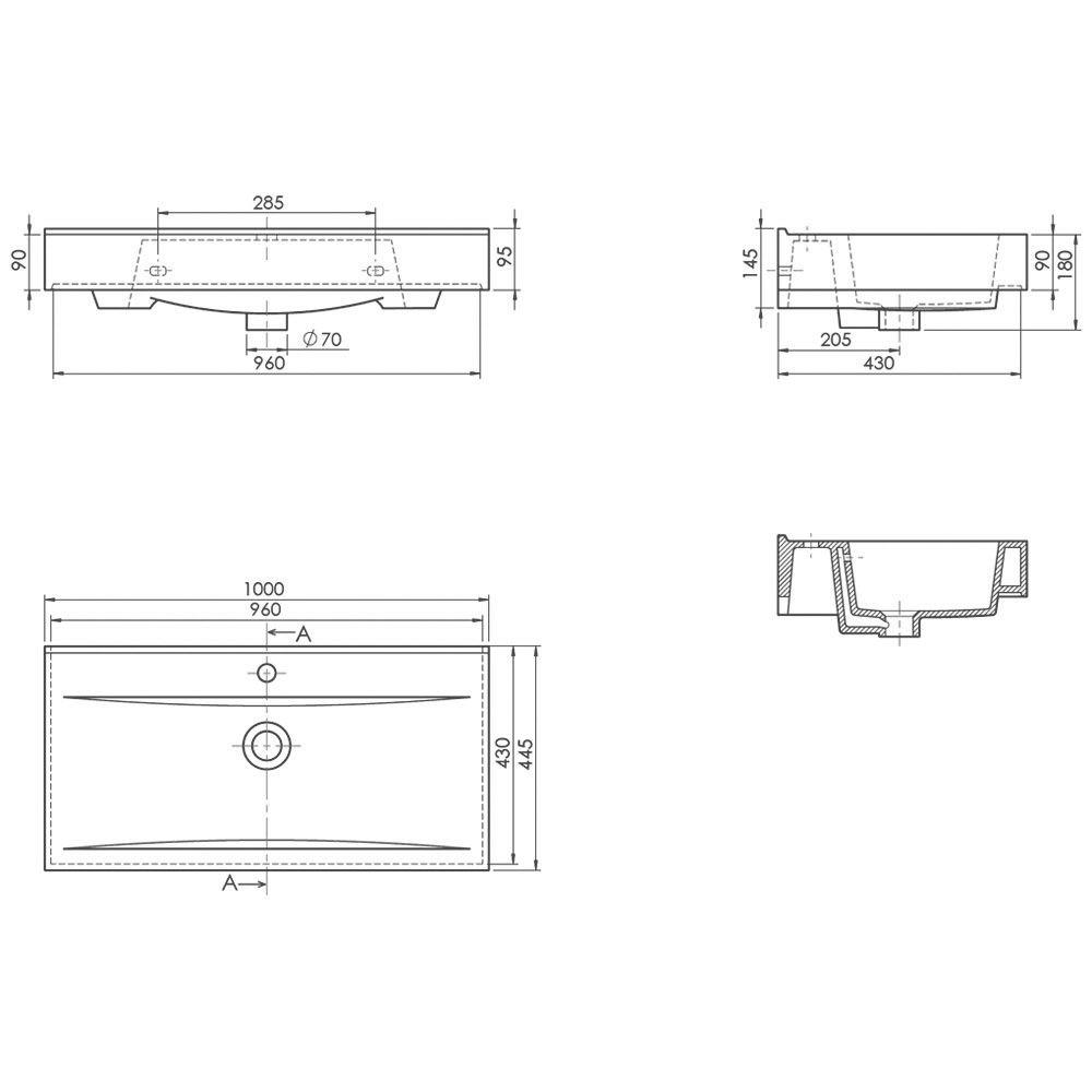 megabad plana 2 0 waschtisch 100 x 45 x 5 3 cm mbwtmo100 megabad. Black Bedroom Furniture Sets. Home Design Ideas