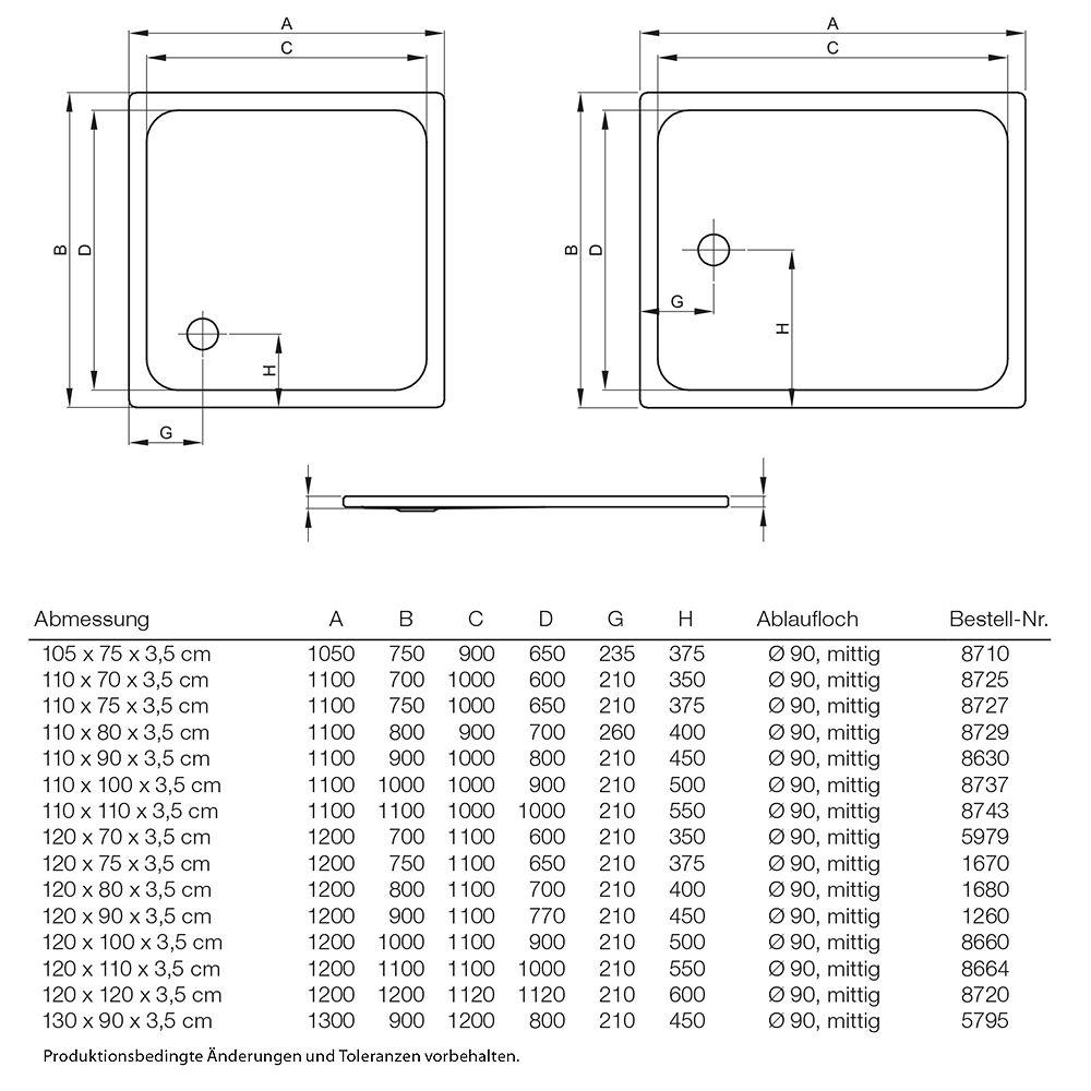 Duschwanne flach 120 x 90  Bette Duschwanne superflach 120 x 90 x 3,5 cm - MEGABAD