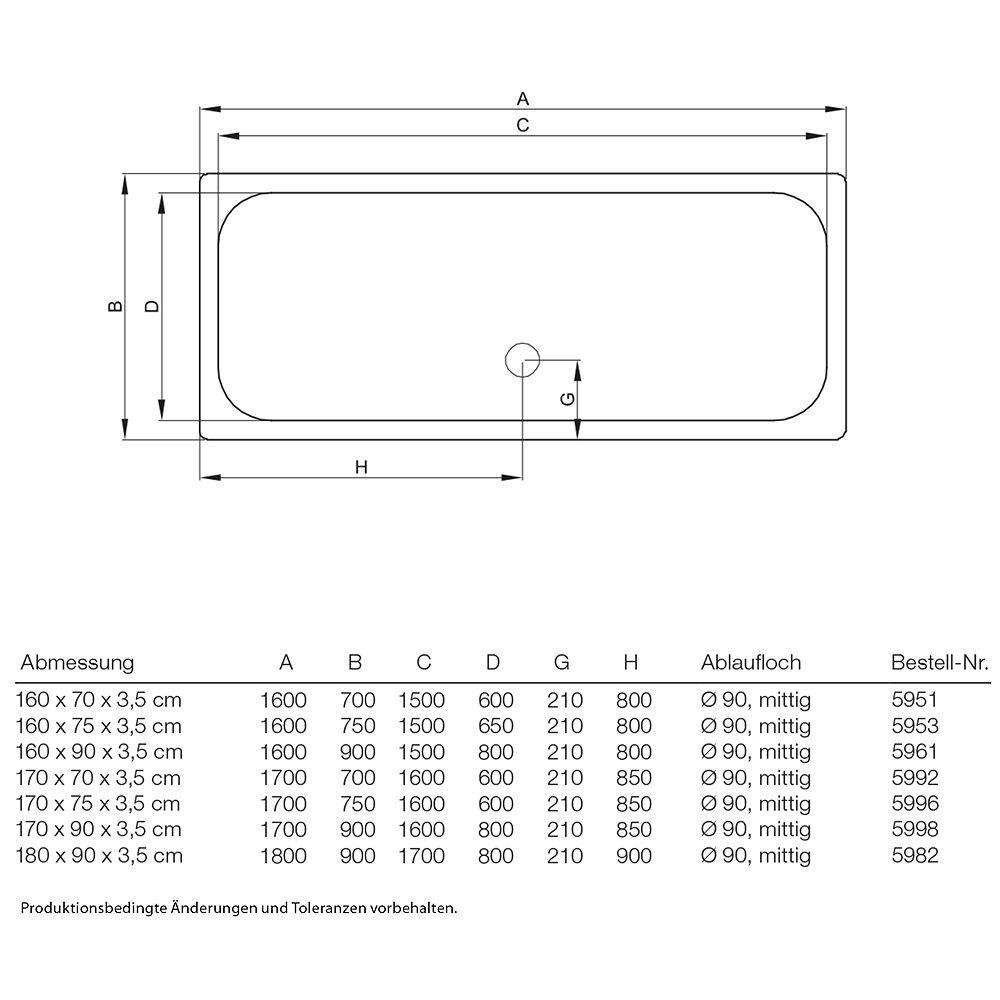 Duschwanne maße  Bette Duschwanne superflach 170,0 x 90,0 x 3,5 cm - MEGABAD