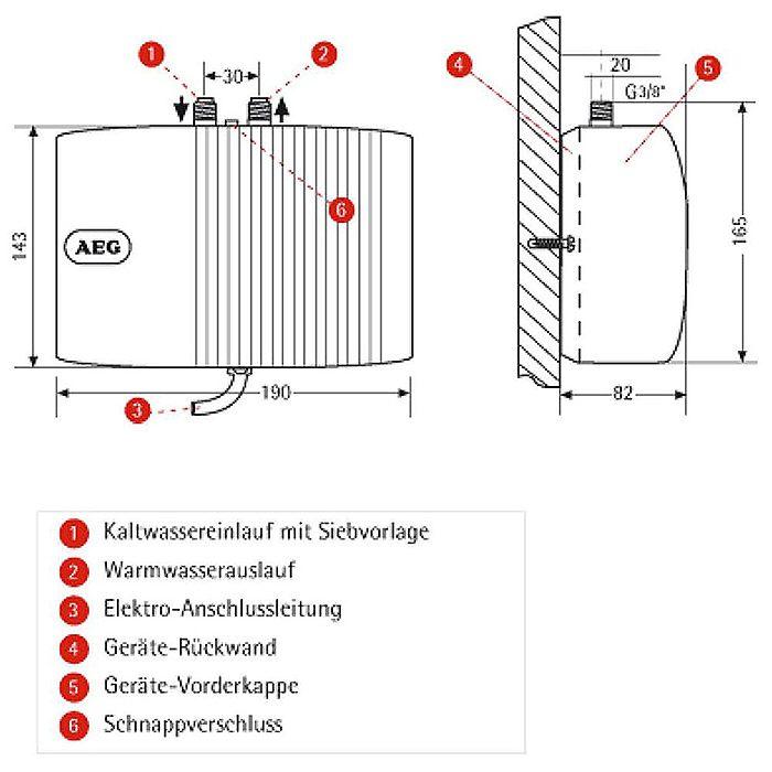 aeg geschlossener klein-durchlauferhitzer mtd 570 - 222122 - megabad - Kleindurchlauferhitzer Für Die Küche