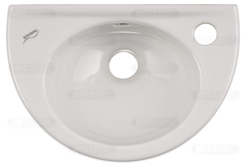 keramag fidelio handwaschbecken 37 x 25 cm mit hahnloch rechts 274036000 megabad. Black Bedroom Furniture Sets. Home Design Ideas