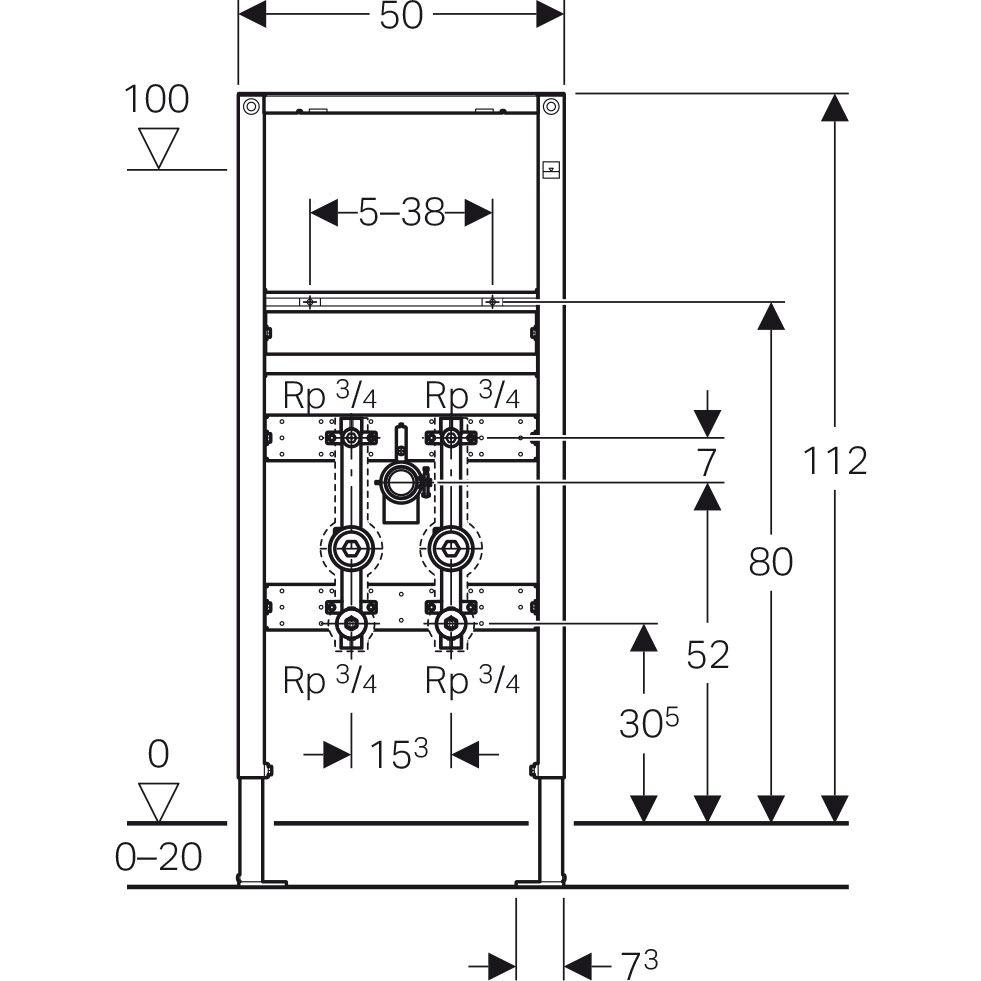 geberit duofix element f r waschtisch 112 cm standarmatur 2 wasserz hlerstrecken. Black Bedroom Furniture Sets. Home Design Ideas