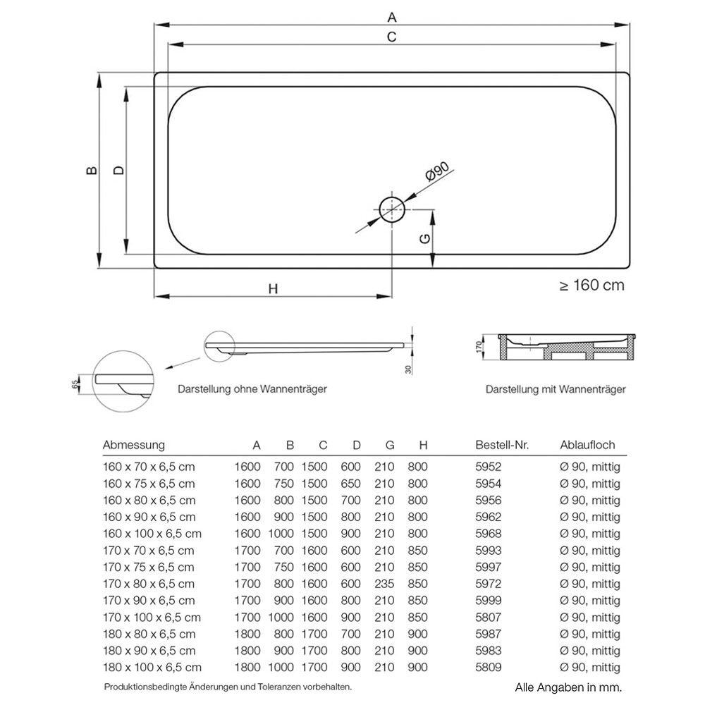 Super Bette Duschwanne extraflach 160 x 90 x 6,5 cm - MEGABAD KV04