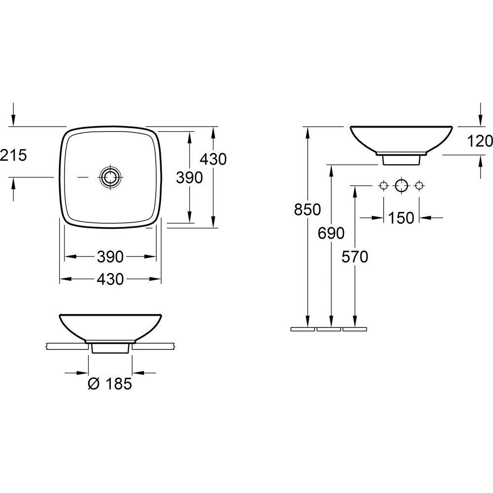 villeroy boch loop friends aufsatzwaschtisch 43 cm 51491001 megabad. Black Bedroom Furniture Sets. Home Design Ideas