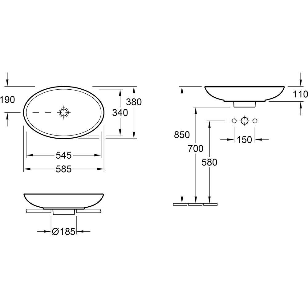 villeroy boch loop friends aufsatzwaschtisch oval 515101xx megabad. Black Bedroom Furniture Sets. Home Design Ideas