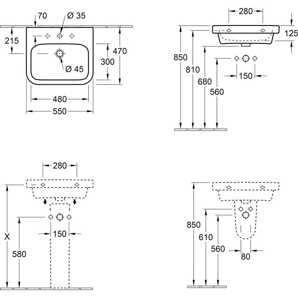 Extremely Villeroy & Boch Architectura Waschtisch 55 cm 41885501 - MEGABAD CD58