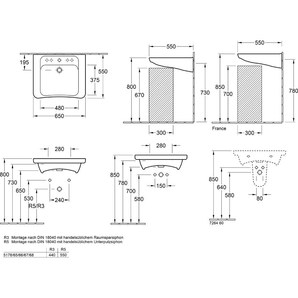 Extremely Villeroy & Boch Architectura Vita Waschtisch 65 cm ohne Überlauf  CD58