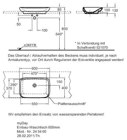 keramag myday einbauwaschtisch 60 cm 245460000 megabad. Black Bedroom Furniture Sets. Home Design Ideas