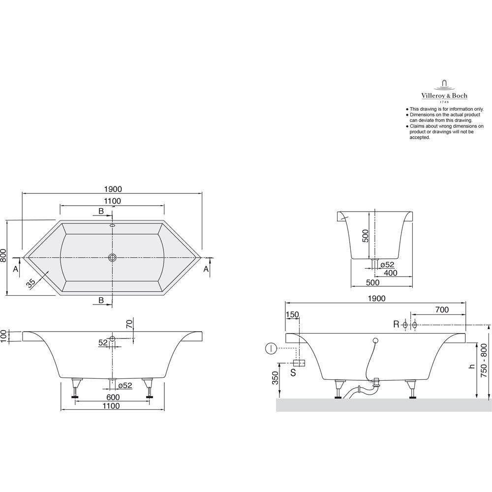 Villeroy & Boch Squaro Duo Sechseck-Badewanne UBQ190SQR6V - MEGABAD | {Sechseck badewanne maße 63}