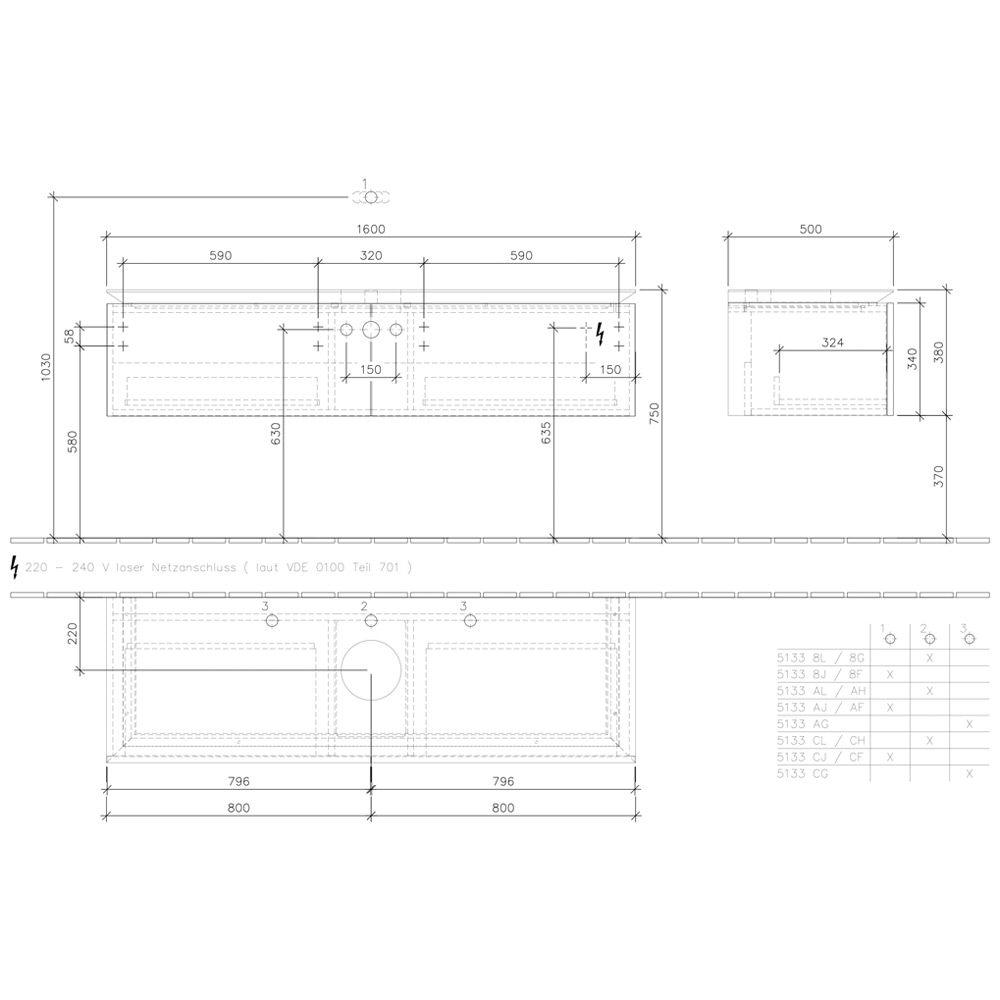 villeroy boch legato waschtischunterschrank 160 cm b147l0pn megabad. Black Bedroom Furniture Sets. Home Design Ideas