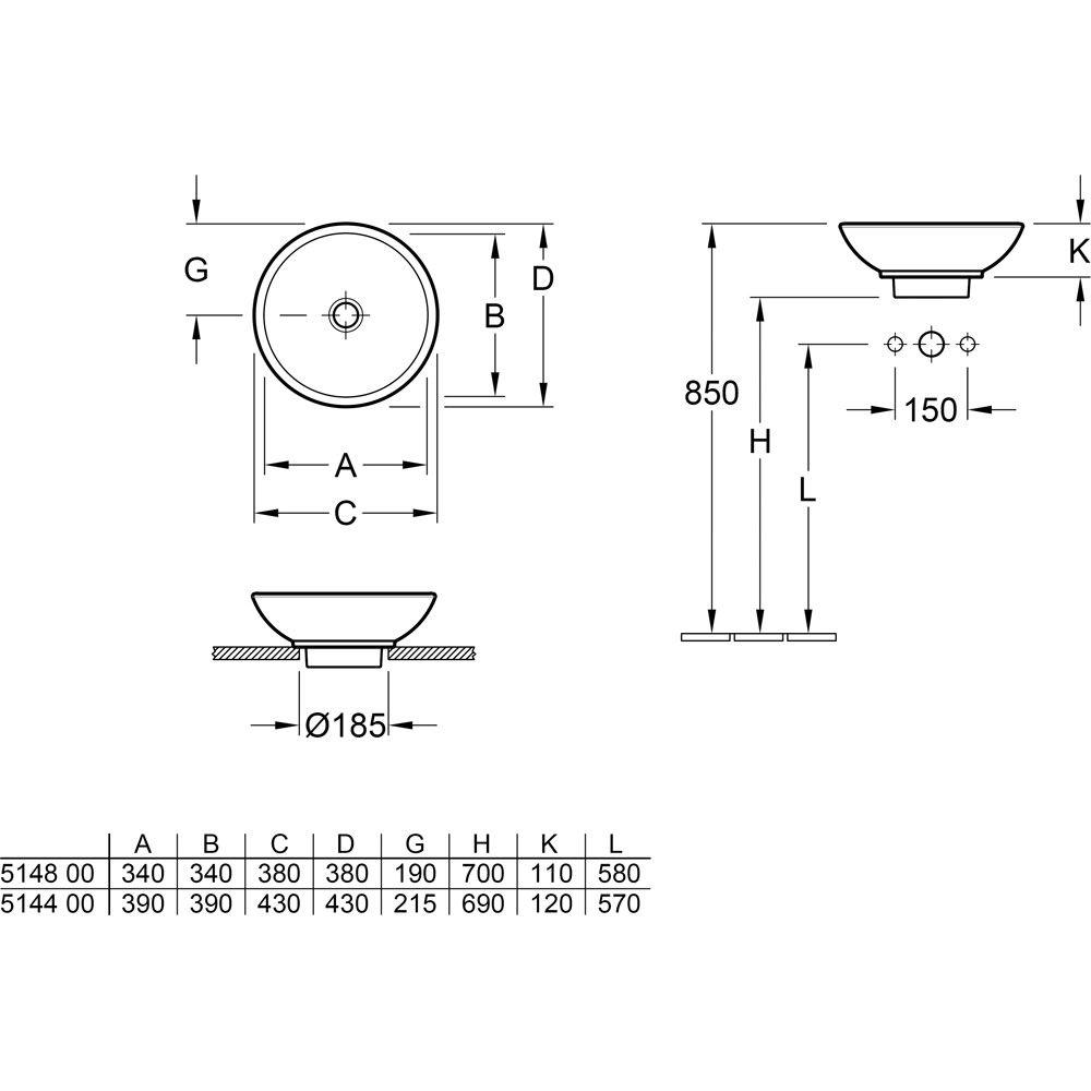 villeroy boch loop friends aufsatzwaschtisch 514801 ohne berlauf megabad. Black Bedroom Furniture Sets. Home Design Ideas