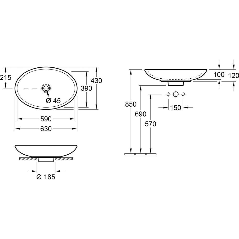 villeroy boch loop friends aufsatzwaschtisch oval 515111xx megabad. Black Bedroom Furniture Sets. Home Design Ideas