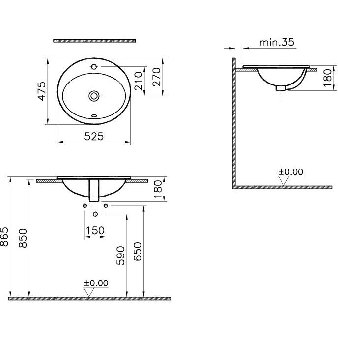 vitra s20 einbauwaschtisch oval 52 5 x 47 5 cm megabad. Black Bedroom Furniture Sets. Home Design Ideas