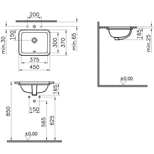 vitra s20 einbauwaschtisch 37 5 cm art 5473b003 0618. Black Bedroom Furniture Sets. Home Design Ideas
