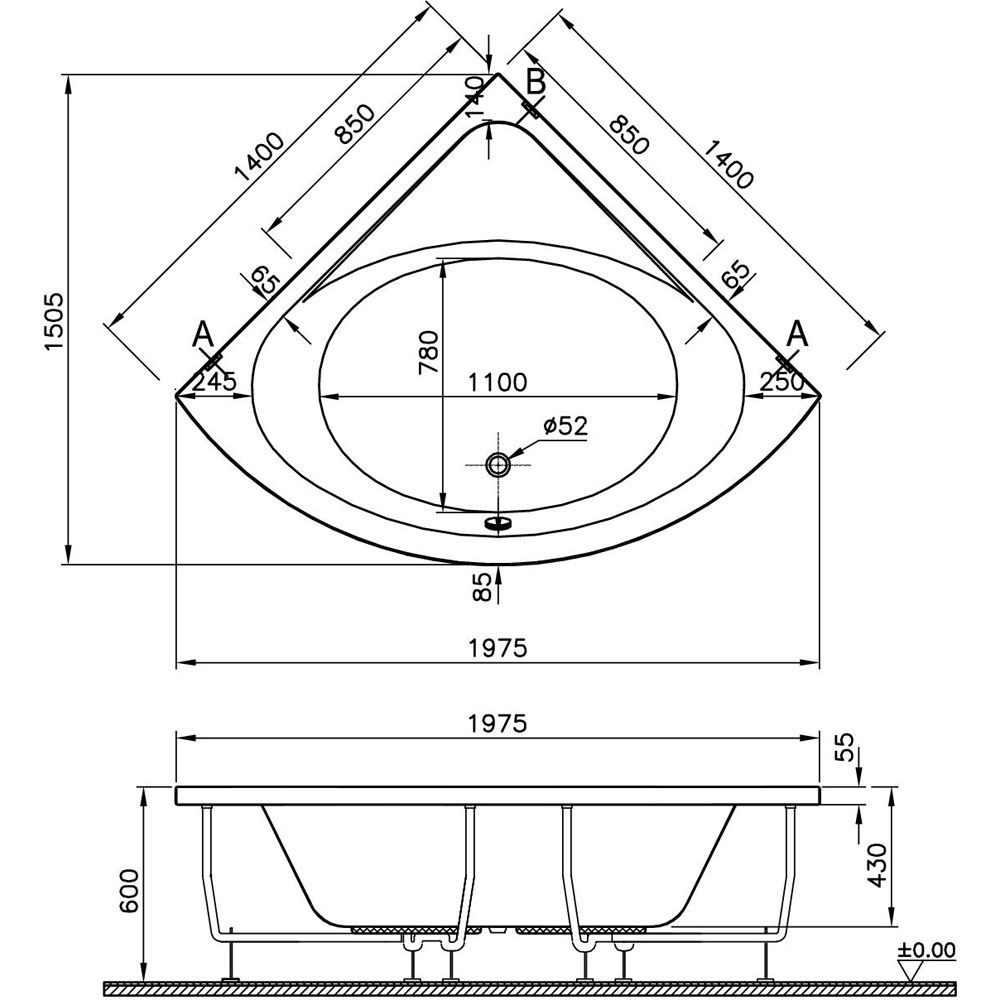 Eckbadewanne maße 130  VitrA S50 Eckbadewanne 140 x 140 cm - MEGABAD
