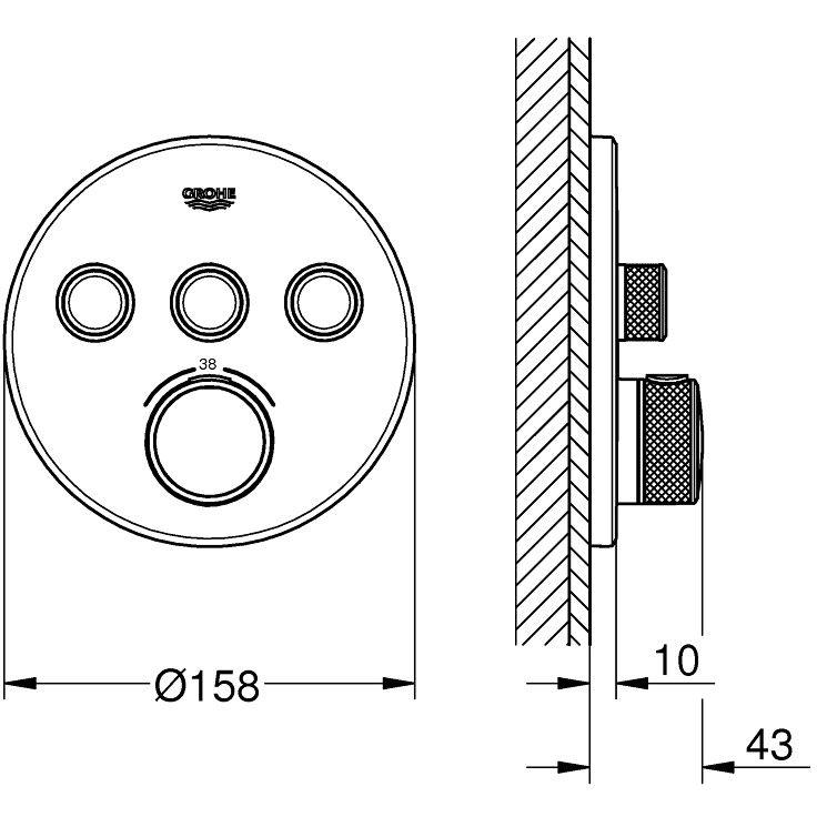 grohe grohtherm smartcontrol thermostat fertigmontageset mit 3 absperrventilen  runde ausf u00fchrung