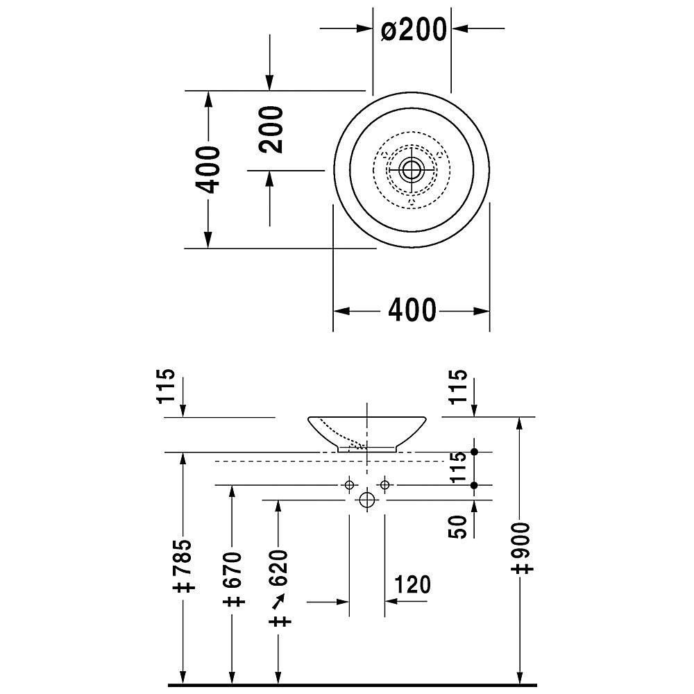 duravit bagnella waschtisch schale 40 cm 0451400000 megabad. Black Bedroom Furniture Sets. Home Design Ideas