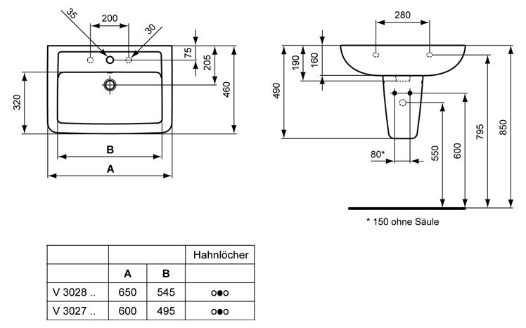 Ideal standard eurovit plus waschtisch art v302801 megabad for Ideal standard waschtisch
