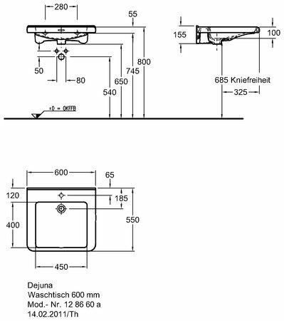 Keramag Renova Nr.1 Comfort Waschtisch 60 cm unterfahrbar - MEGABAD | {Waschbecken maße standard 76}