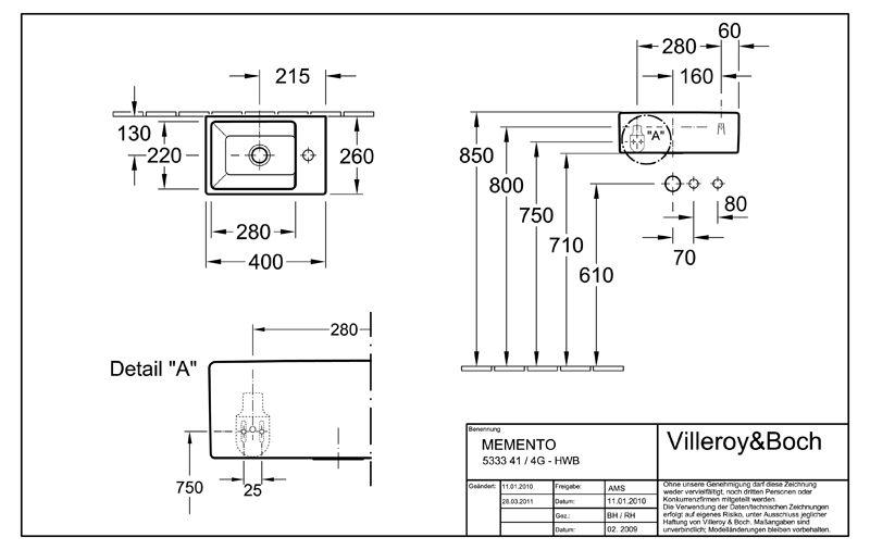 villeroy boch edition memento handwaschbecken 40 x 26 cm 53334g01 megabad. Black Bedroom Furniture Sets. Home Design Ideas