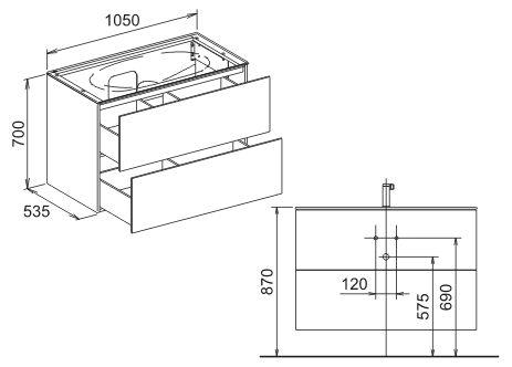 keuco edition 11 waschtischunterschrank 105 x 70 cm 31352380000 megabad. Black Bedroom Furniture Sets. Home Design Ideas