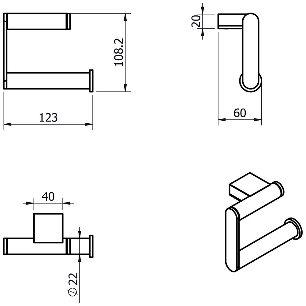 kronenbach plana 2 0 papierhalter ohne deckel. Black Bedroom Furniture Sets. Home Design Ideas