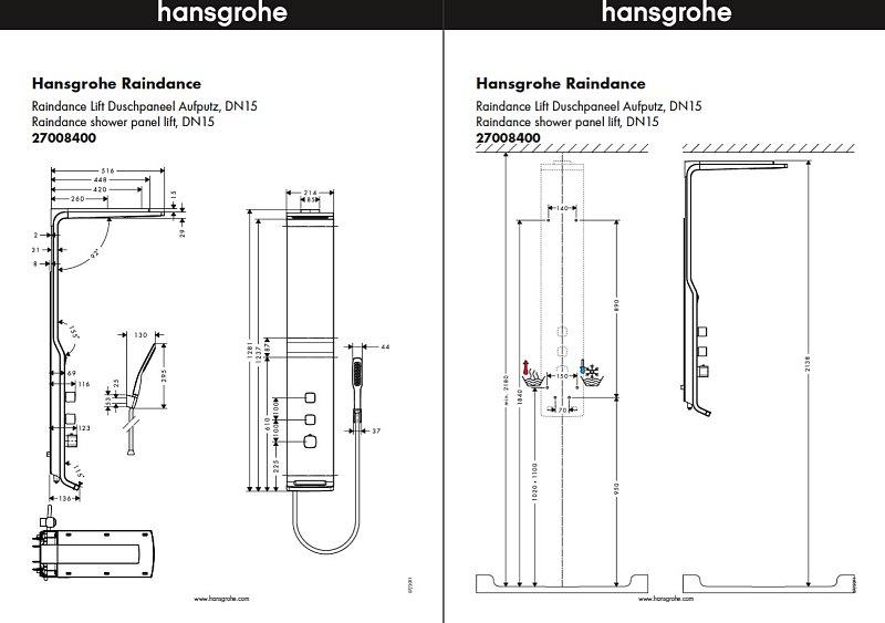 hansgrohe raindance lift duschpaneel nr 27008400 megabad. Black Bedroom Furniture Sets. Home Design Ideas