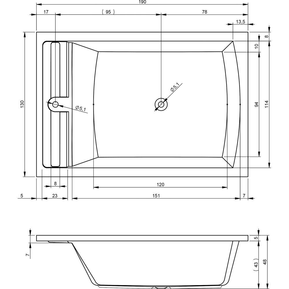 riho savona rechteck badewanne 190 x 130 cm bb79 megabad. Black Bedroom Furniture Sets. Home Design Ideas