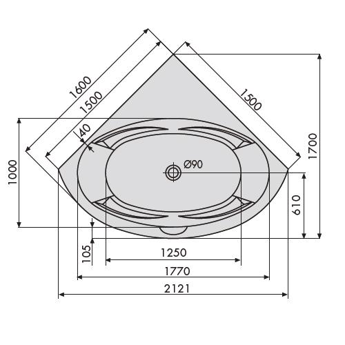 Duscholux Malaga 444 Trend Eckbadewanne 150 x 150 cm - MEGABAD | {Eckbadewanne maße 5}