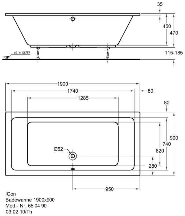 Badewanne maße  Keramag iCon Badewanne 190 x 90 cm 650490 - MEGABAD