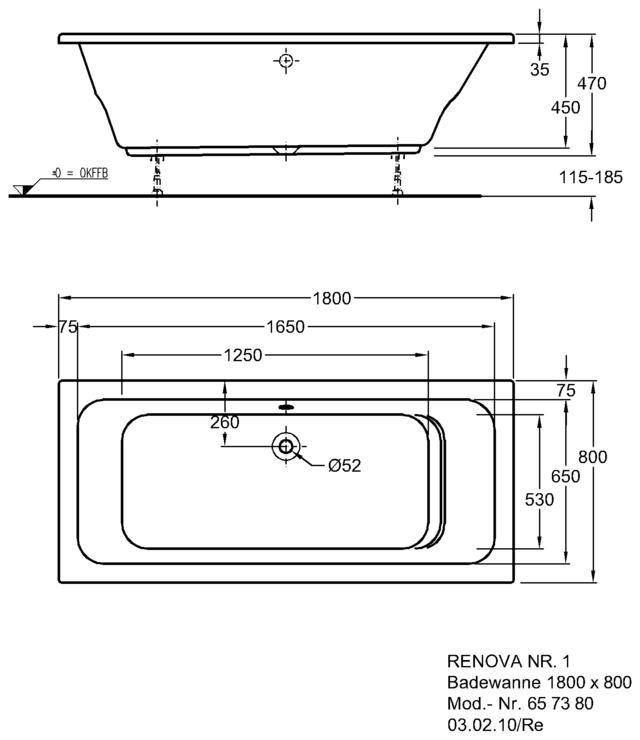 Badewanne maße standard  Keramag Renova Nr.1 Badewanne 180 x 80 cm 657380000 - MEGABAD