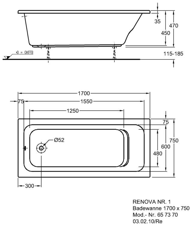 keramag renova nr 1 badewanne 170 x 75 x 45 cm megabad. Black Bedroom Furniture Sets. Home Design Ideas