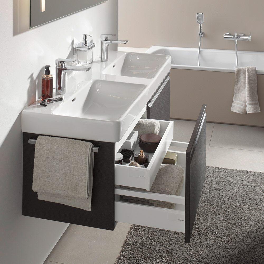 laufen pro s doppelwaschtisch 130 cm unterbauf hig mit hahnloch h8149680001041 megabad. Black Bedroom Furniture Sets. Home Design Ideas