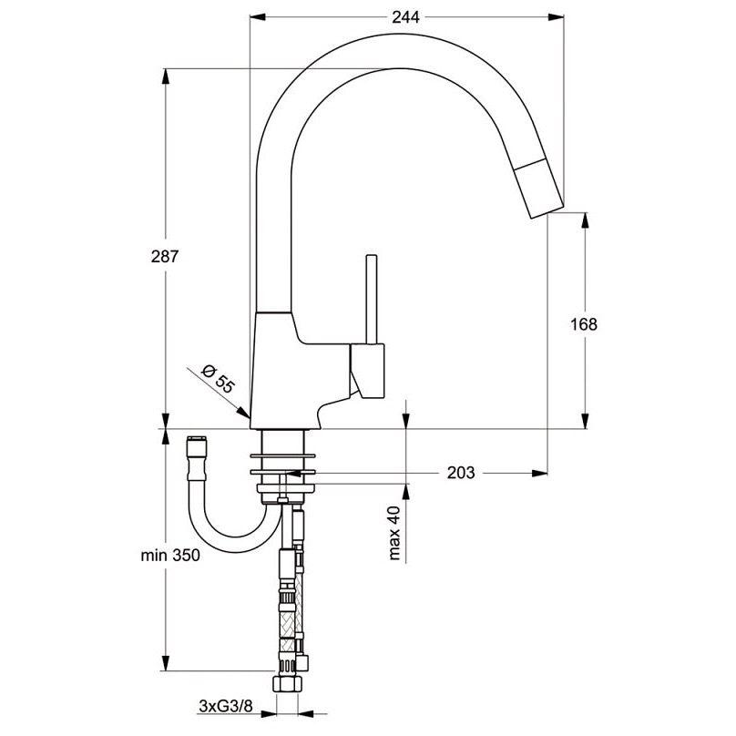 Fantastisch Ideal Standard Nora Küchenarmatur B9330AA ND mit Ausziehbrause  ZG84