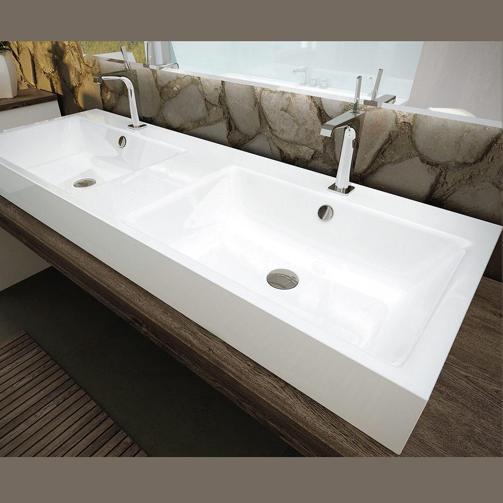 kaldewei puro wand doppelwaschtisch 3170 mit 2 hahnlochbohrung 130 cm 906706043001 megabad. Black Bedroom Furniture Sets. Home Design Ideas