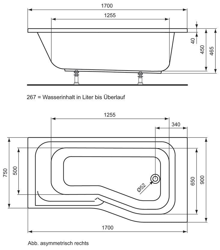 ideal standard connect playa dusch badewanne 170 x 90 cm. Black Bedroom Furniture Sets. Home Design Ideas