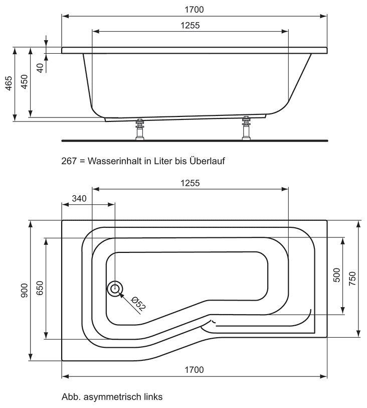 ideal standard connect playa dusch badewanne 170 x 90 cm links megabad. Black Bedroom Furniture Sets. Home Design Ideas