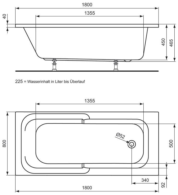ideal standard connect playa k rperform badewanne 180 x 80 cm megabad. Black Bedroom Furniture Sets. Home Design Ideas