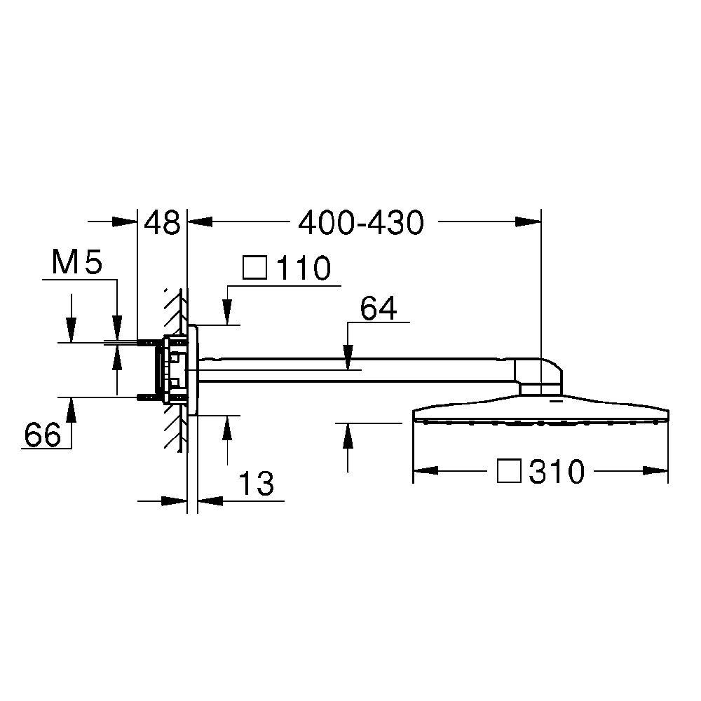 grohe rainshower 310 smartactive cube kopfbrauseset mit wandanschluss 26479000 megabad. Black Bedroom Furniture Sets. Home Design Ideas