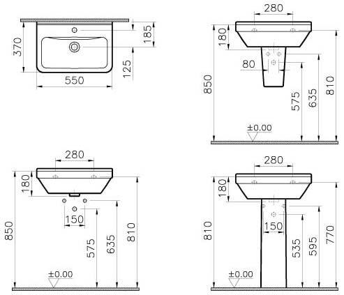 Waschbecken maße standard  VitrA S50 Waschbecken 55 x 37 cm, Art. 5341L003-0012 - MEGABAD