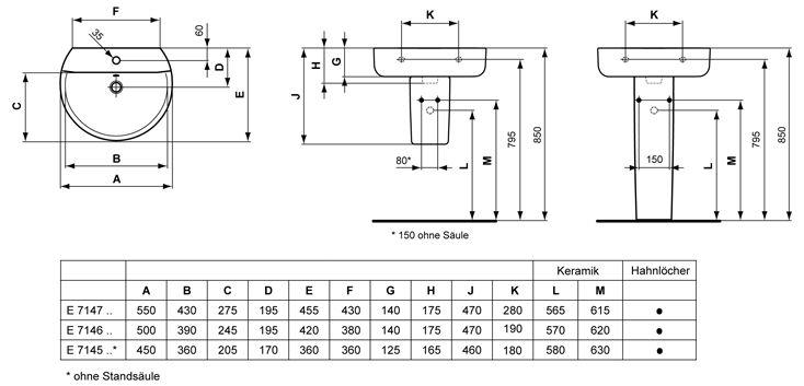 Waschbecken maße standard  Ideal Standard Connect Waschtisch Sphere E714701 - MEGABAD